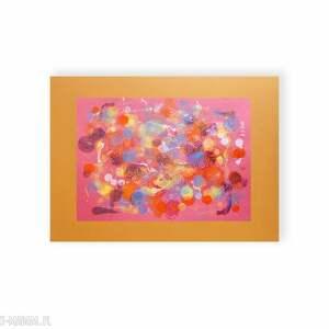 malowany ręcznie czerwone grafika w ciepłych kolorach