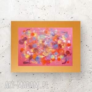 niepowtarzalne malowany ręcznie grafika w ciepłych kolorach