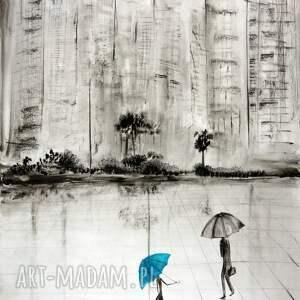 obrazy ręcznie malowane turkusowe grafika 70 x 100 cm wykonana