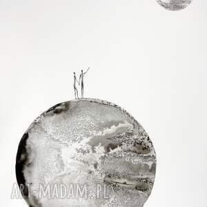 grafika 50X70 cm wykonana ręcznie, plakat, abstrakcja, elegancki minimalizm grafiki do salonu