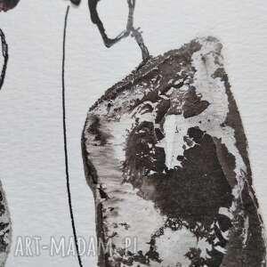 minimalizm obrazy czerwone grafika 30x40 cm wykonana ręcznie