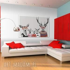 jelenie obrazy czerwone hipsterska rodzina jeleni 02202