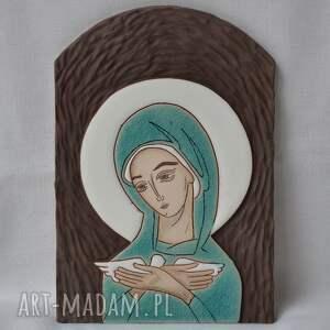 turkusowe obrazy obraz ikona ceramiczna z wizerunkiem