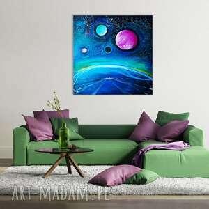 turkusowe kosmos inne krajobrazy obraz akrylowy