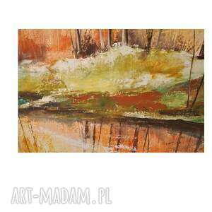 pejzaż jesienna impresja, las, obraz