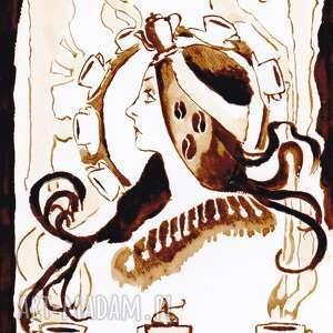 obrazy mucha kawowa wróżka - obraz kawą malowany