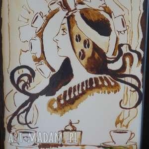 beżowe obrazy mucha kawowa wróżka - obraz kawą malowany