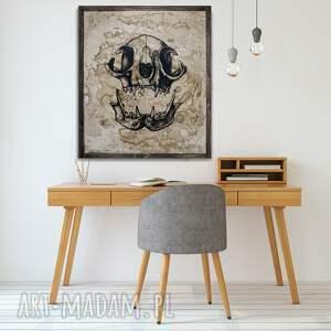 kot brązowe kocia czaszka - obraz ręcznie