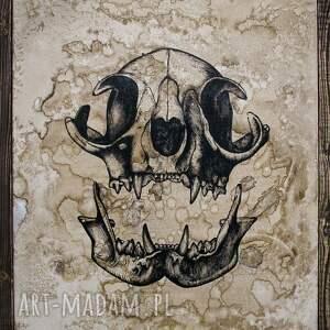 niepowtarzalne kocia czaszka - obraz ręcznie