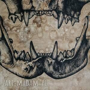 niepowtarzalne malowany ręcznie kocia czaszka - obraz