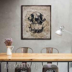 malowany ręcznie kocia czaszka - obraz