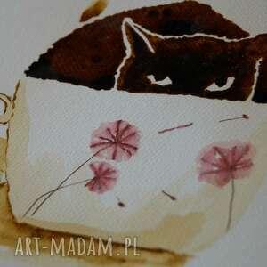 ręcznie robione obrazy kawa kocia - obraz kawą i piórkiem