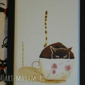 kawa obrazy białe kocia - obraz kawą i piórkiem