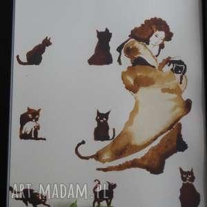 ręcznie zrobione obrazy koty kocia mama - obraz kawą malowany