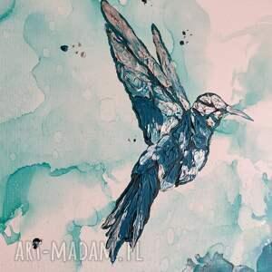 salonu obrazy turkusowe koliber w turkusowej mgle - obraz