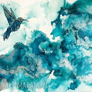 białe obrazy canvas koliber w turkusowej mgle - obraz
