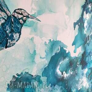 obrazy design koliber w turkusowej mgle - obraz