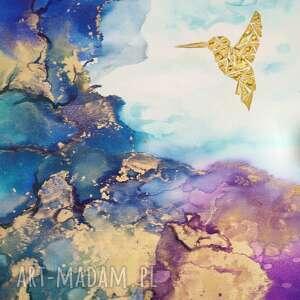 prezent koliber we mgle - obraz ręcznie