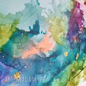 """złote obrazy canvas """"kolibry w tęczowej mgle"""""""