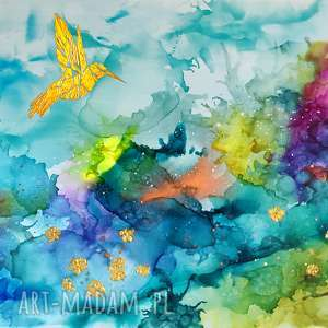 """obrazy dosalonu """"kolibry w tęczowej mgle"""""""