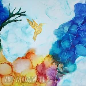 obraz do salonu kolibry w tęczowej mgle - 120x80