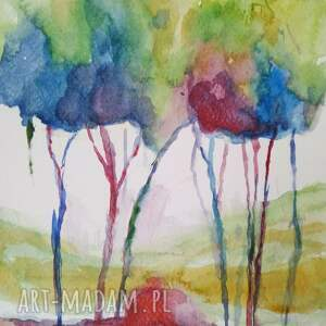 Paulina Lebida kolorowe drzewa - akwarela formatu a5 - farba
