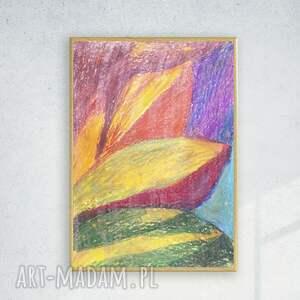 abstrakcyjna pomarańczowe kolorowy rysunek oprawiony