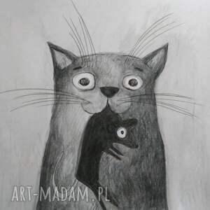 kotek z myszką -akwarela formatu a5 - mysz kot