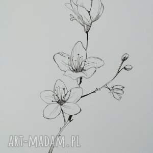 kwiaty praca wykonana tuszem format