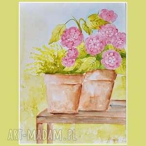 nietypowe obrazy akwarela kwiaty w doniczce 2,