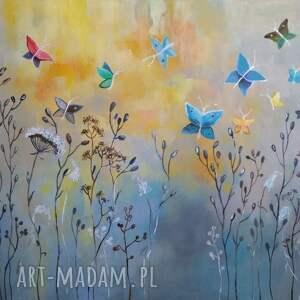 motyle łąka z motylami obraz akrylowy
