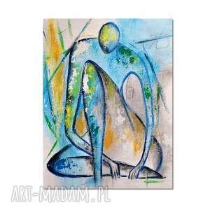 niebieskie obrazy postać marceau, nowoczesny obraz ręcznie