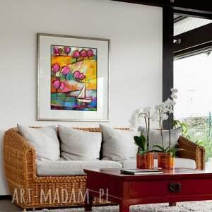 różowe obrazy pejzaż mazury - rysunek pastelami suchymi