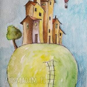 ciekawe akwarela miasteczka, domki akwarele formatu