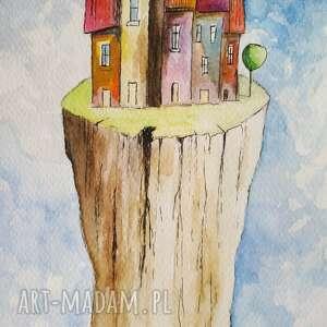 kolorowe miasteczka, domki akwarele formatu