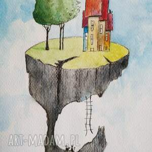 ciekawe kolorowe miasteczka, domki akwarele formatu