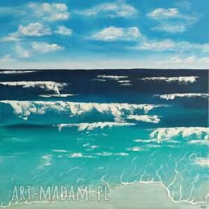 """niebieskie napłótnie """"morze"""" -abstrakcyjny obraz ręcznie"""