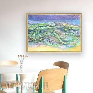 turkusowe abstrakcja morze obraz oprawiony, rysunek