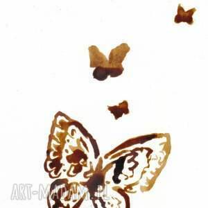 brązowe obrazy motyle motyli taniec - obraz kawą malowany