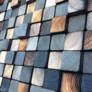 płaskorzeźba mozaika drewniana na