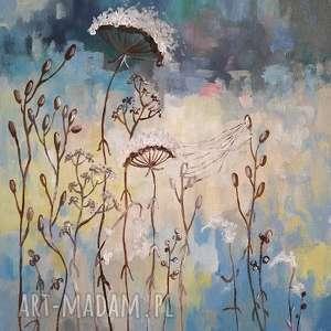 wyraziste obrazy łąka niebieska z pajęczyną - obraz