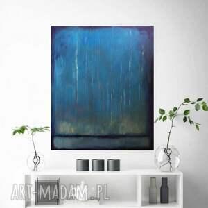 eleganckie abstrakcja niebieski las nocą - obraz akrylowy