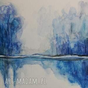 eleganckie akwarela niebieskie drzewa formatu