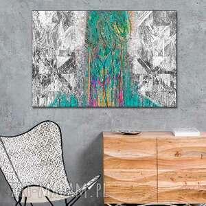 Nowoczesny obraz Abstrakcja las 120 x 80 czarno biały z turkusem na ścianę na-ścianę