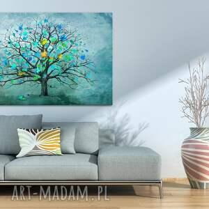 turkusowe drzewo nowoczesny obraz do salonu