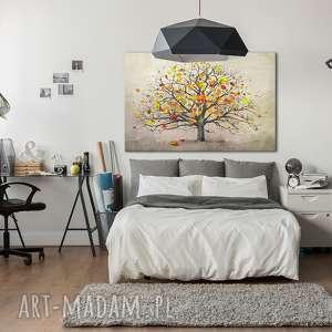 ludesign gallery Nowoczesny obraz do salonu drukowany na płótnie z drzewem, jesienne drzewo