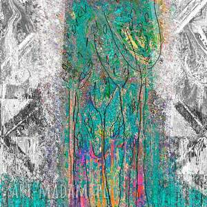 obraz z-turkusem białe nowoczesny abstrakcja las 120
