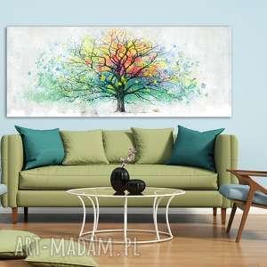 żółte kolorowe drzewo nowoczesny obraz do salonu