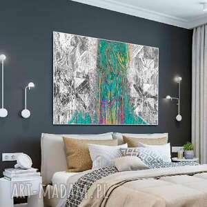 obraz z-turkusem nowoczesny abstrakcja las 120