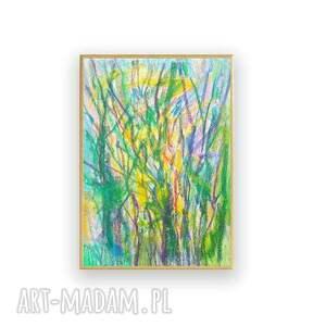 żółte malowany ręcznie nowoczesny szkic oprawiony, drzewa